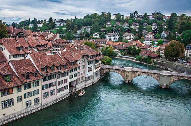 Bern, Switzerland, River, Bridge, Roof