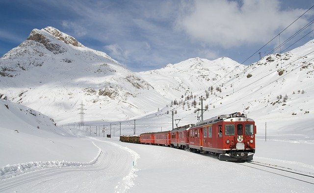Railway, Bernina Railway, Lagalb, Bernina, Winter