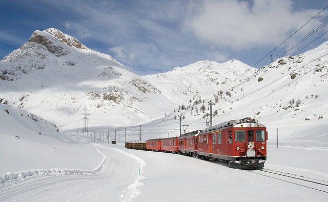 Railway, Bernina Railway, Lagalb, Bernina, Winter