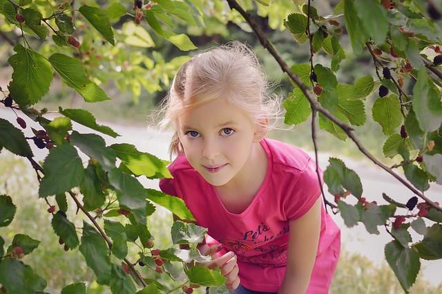 Mulberry, Little Girl, Summer, Fruits, Berries