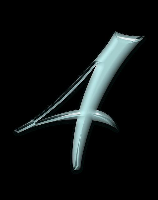 Numbers, Bevel, Aqua, Glass, Blue, 4, Four