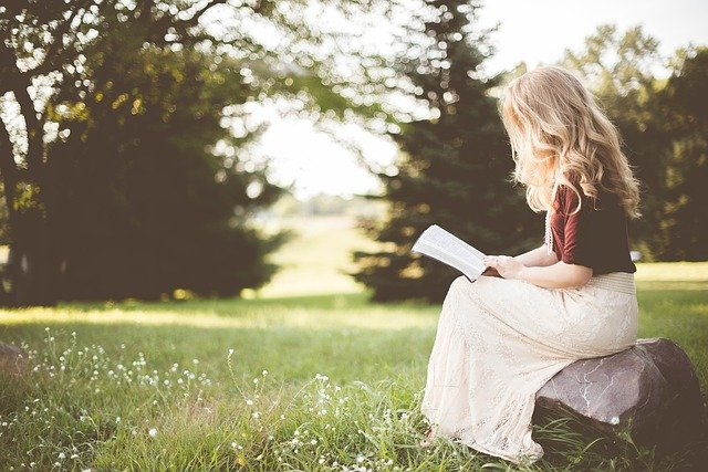 Girl, Book, Sitting, Alone, Rock, Reading, Bible