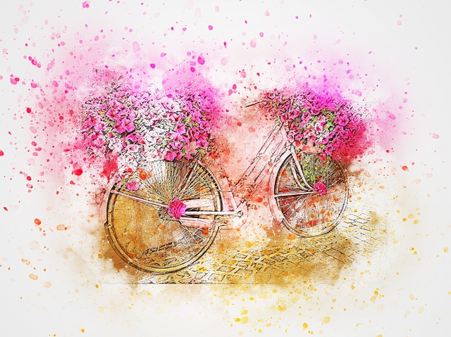 Bicycle, Flowers, Pink, Art, Abstract, Watercolor