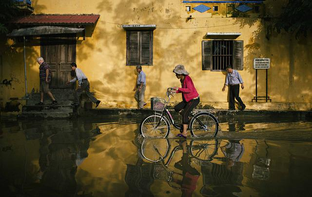 Biking, Street, Flood, City, Bike, Bicycle