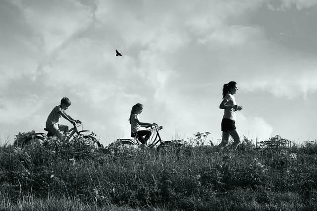 Child, Woman, People, Walking, Exercise, Bicycle