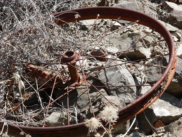 Bicycle Wheel, Radios, Rusty, Abandoned