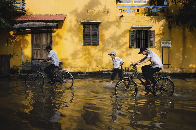 Children, Bicycles, Flood, Flooding, Student, Ancient