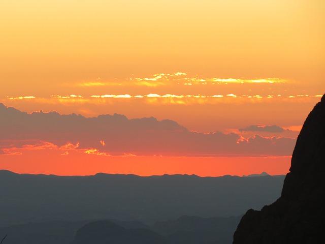 Sunset, Orange, Hiking, Big Bend, Texas