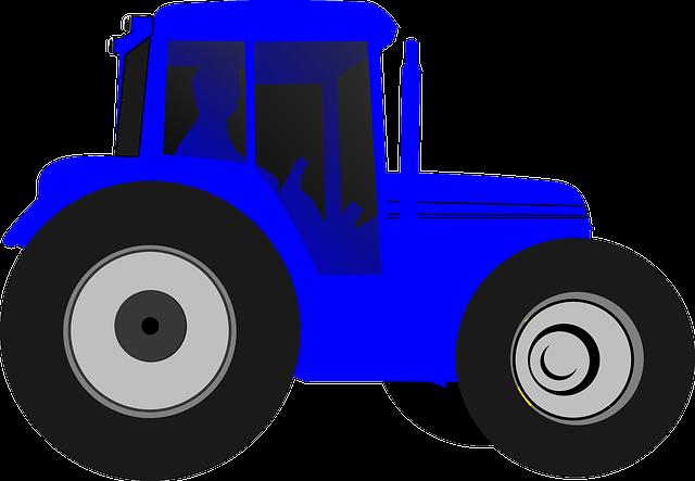 Tractor, Farmer, Drive, Blue, Silhouette, Big