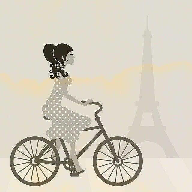 Girl, Cycling, Bike, Bicycle, Paris, Eiffel Tower, Art