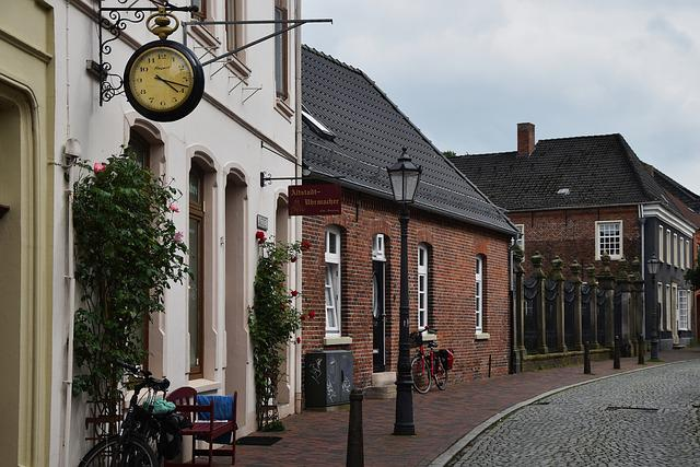 Road, Bike, Clock, Watchmakers Empty, East Frisia