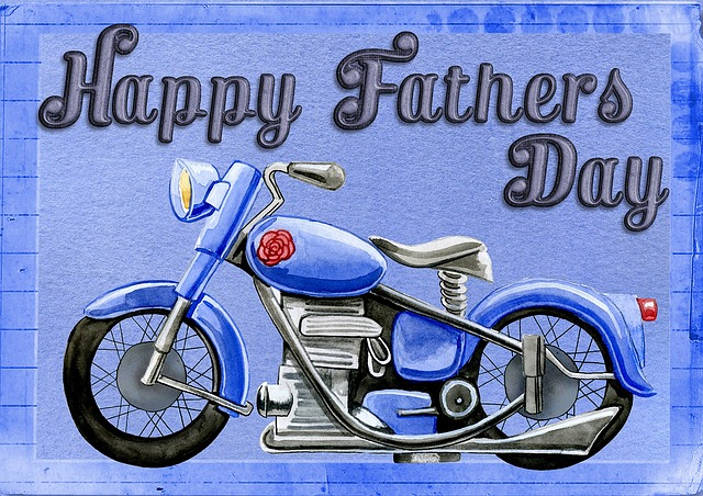Happy Father's Day, Card, Greeting, Motorcycle, Bike