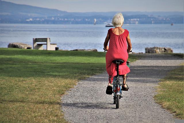 Park, Biking, Senior, Cycling, Bike Riding, Woman