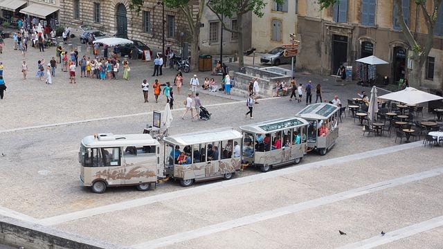 Avignon, Pope Palace Square, Tourists, Bike