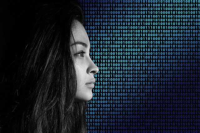Binary, Code, Privacy Policy, Woman, Face, View