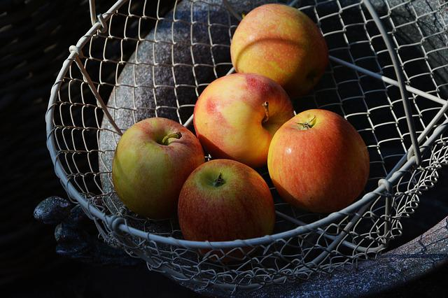 Apple, Basket, Fruit Basket, Harvest, Vitamins, Bio