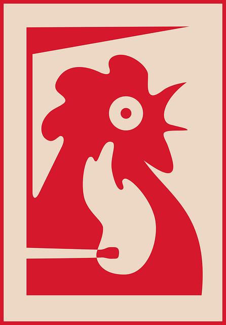 Bird, Cock, Fire, Symbol