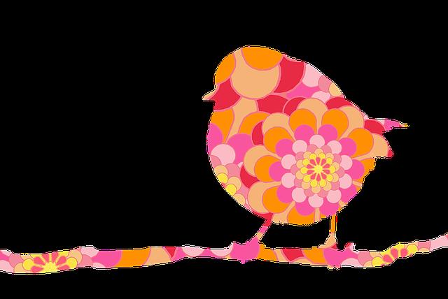 Bird, Robin, On Branch, Flower-power, Floral Design