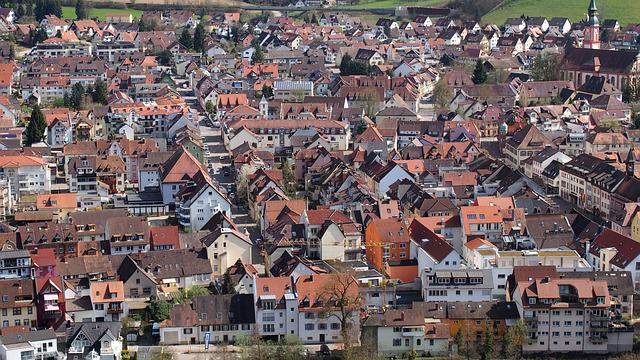 Village, Waldkirch, Roofs, Bird's Eye View