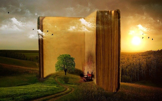 Book, Old, Clouds, Tree, Birds, Bank, Rush, Landscape