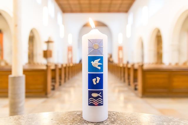 Church, Baptism, Candle, Birth, Baptismal Font