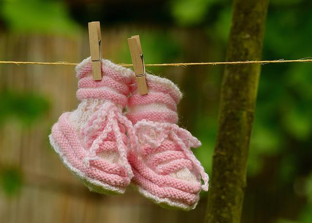 Baby, Girl, Greeting, Birth, Baby Shoes, Knitted, Gift