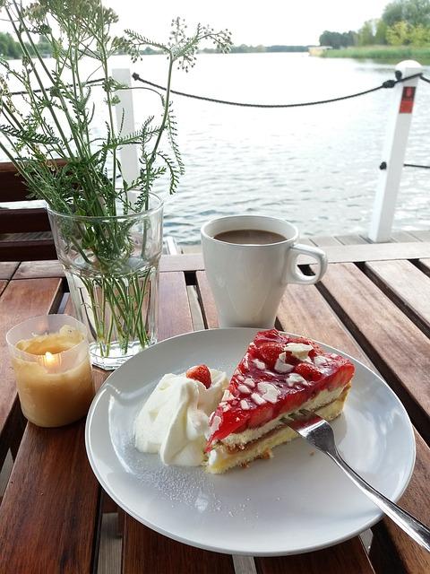 Free Photo Birthday Coffee Cake Strawberry Pie