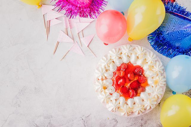 Cake, Balloons, Flags, Birthday Party