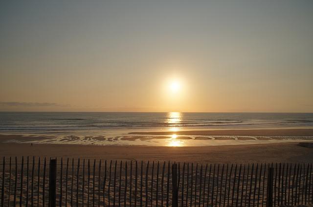 Sunset, Beach, Biscarrosse, Ocean, Atlantic, Dune, Sea