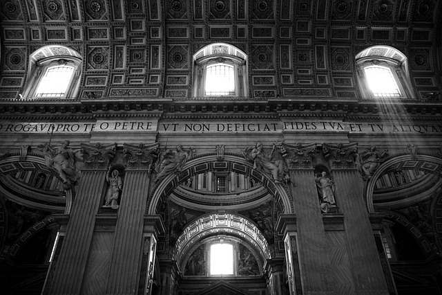 Basilica Di San Pietro, Vaticano, Black And White