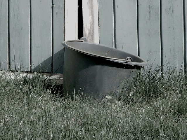Bucket, Goal, Grass, Black And White, Worn, Worn Bucket