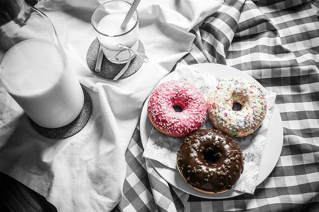 Food, Donuts, Milk, Table, Color Pop, Black And White