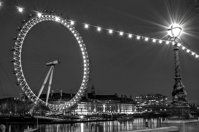London Eye, Long Exposure, Black And White