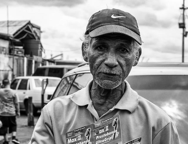Man, Selling Razors, Black And White, Older, Outside