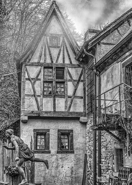 Escape, Architecture, Old, Black And White Photography
