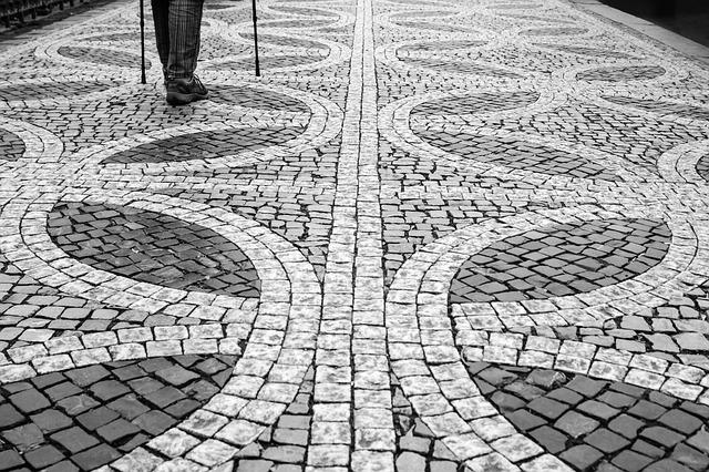 Prague, Cobblestones, Black And White