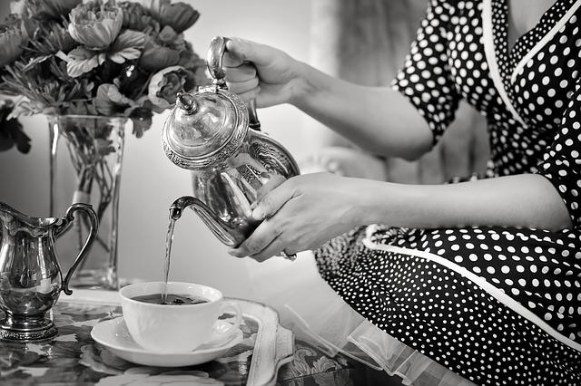 Tea Party, Tea, Black And White, Teapot, Drink, Vintage