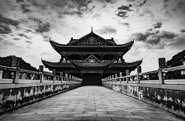 Temple, Black And White, Symmetry