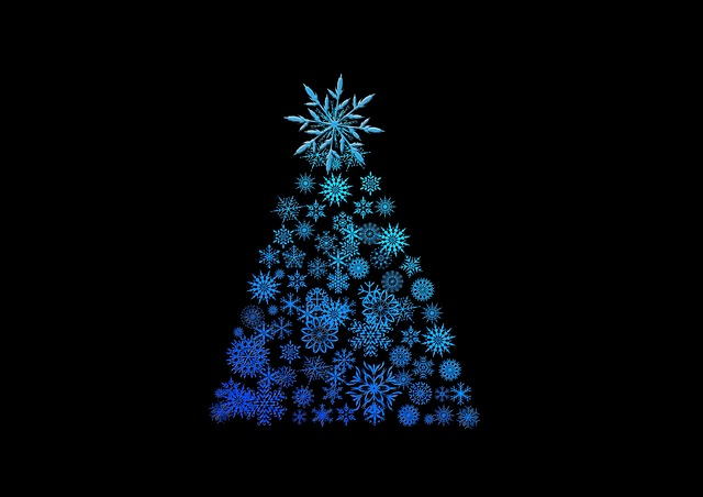 Christmas Tree, Background, Structure, Blue, Black