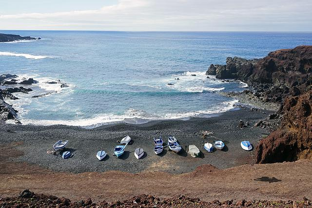 Black Beach, El Golfo, Lanzarote, Boats, Booked