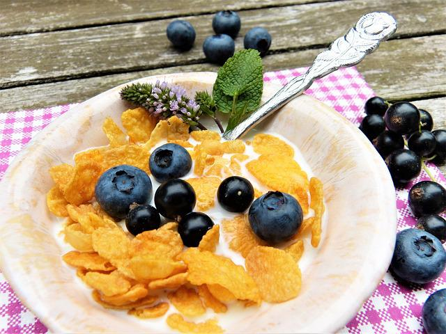 Corn Flakes, Milk, Berries, Blueberries, Black Currants