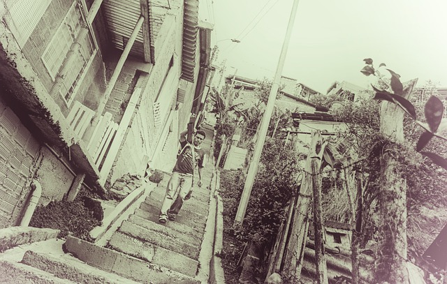 Stairs, District, Load, Houses, Black, Slums, Street
