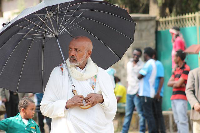Man, Umbrella, Ethiopia, Old, Of Street, Black