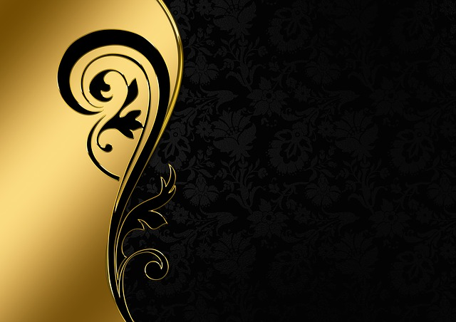 Background Image, Gold, Frame, Floral, Black, Wavy