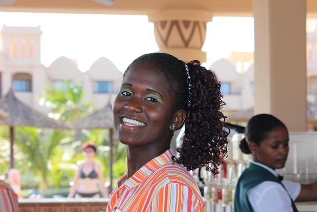 Waiter, Woman, Cape Verde, Black Hair, Ponytail