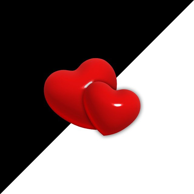 Love, Heart, Opposites, Black, White, Contrary, Duality
