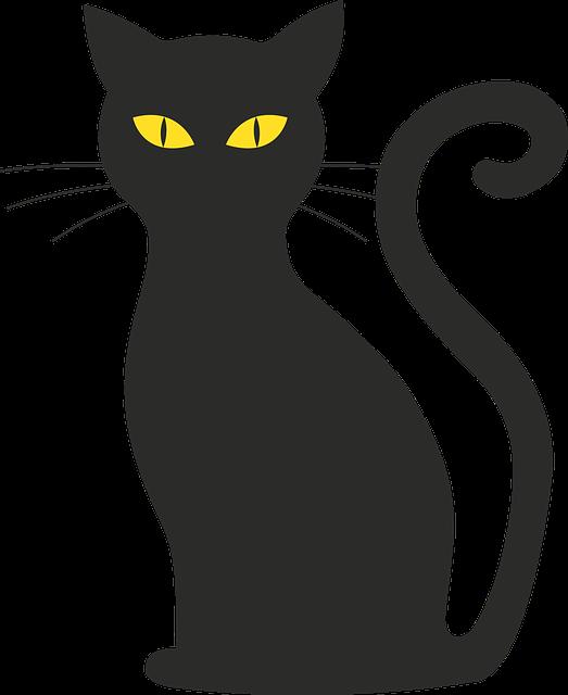 Cat, Halloween, Silhouette, Mieze, Black Cat, Black