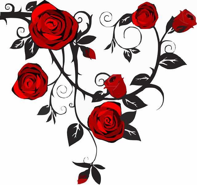 Rose, Thorns, Bloom, Flower, Red, Black, Leaf, Plant