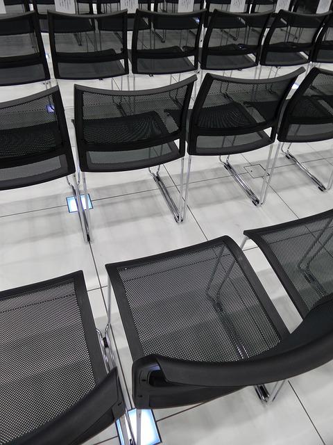 Chairs, Seminar, Showroom, Black, Empty, Lined