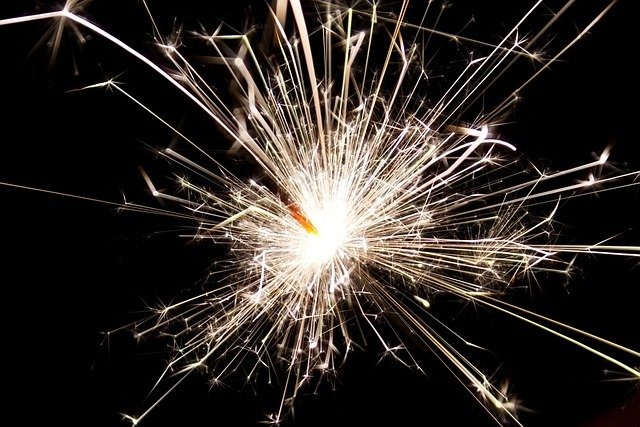 Sparkler, New Year, Sparks, Glowing, Sparkle, Black